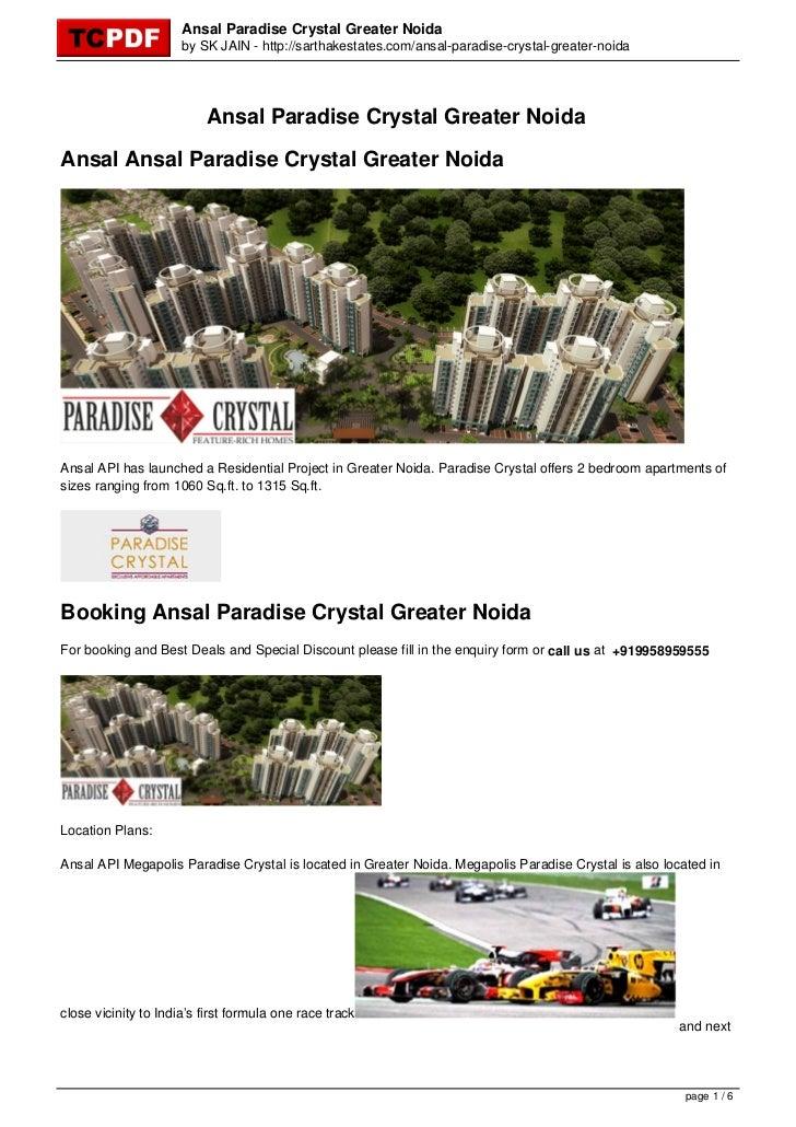 Ansal Paradise Crystal Greater Noida                      by SK JAIN - http://sarthakestates.com/ansal-paradise-crystal-gr...