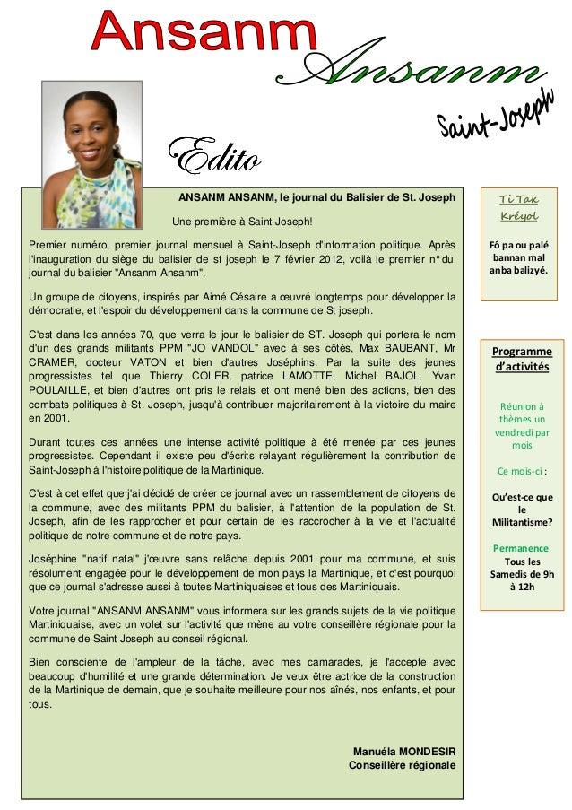 Xw|àÉ                               ANSANM ANSANM, le journal du Balisier de St. Joseph              Ti Tak               ...