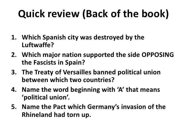 Quick review (Back of the book)<br />Which Spanish city was destroyed by the Luftwaffe?<br />Which major nation supported ...