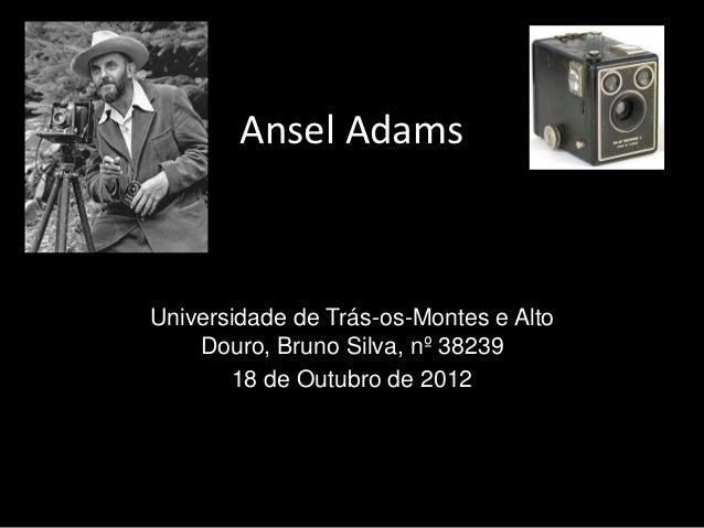 Ansel AdamsUniversidade de Trás-os-Montes e Alto    Douro, Bruno Silva, nº 38239       18 de Outubro de 2012