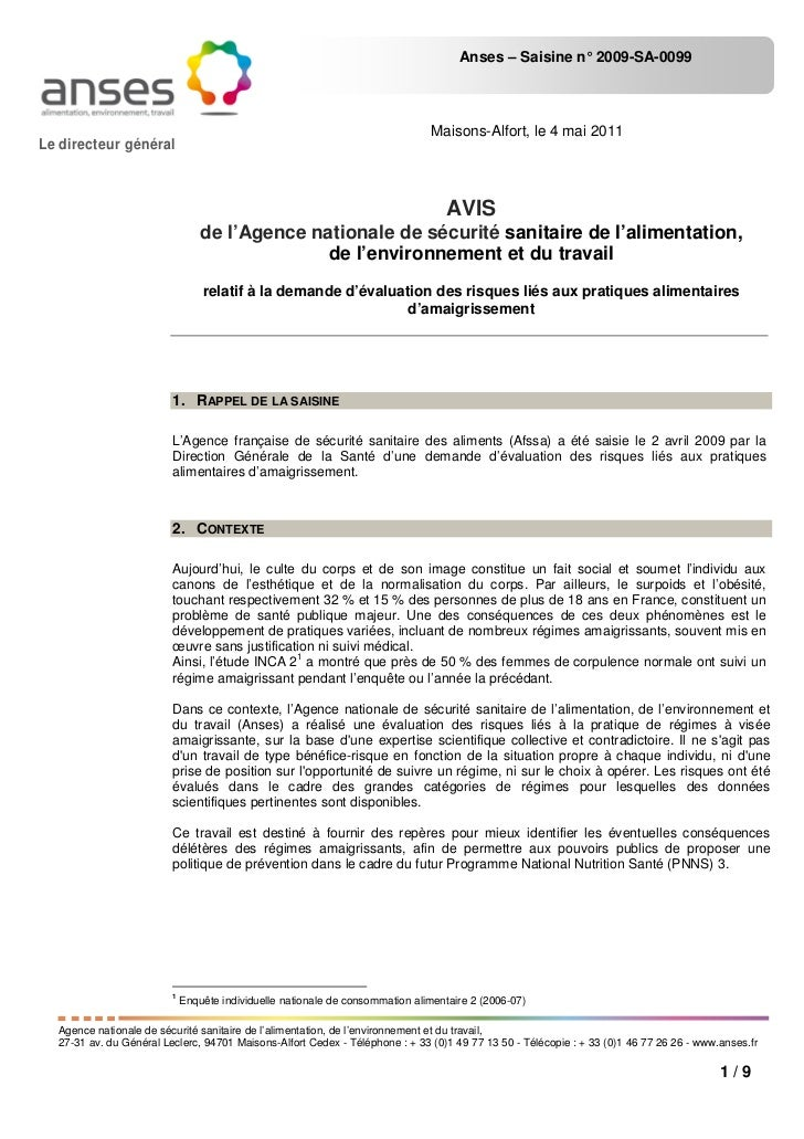 Anses – Saisine n° 2009-SA-0099                                                                               Maisons-Alfo...