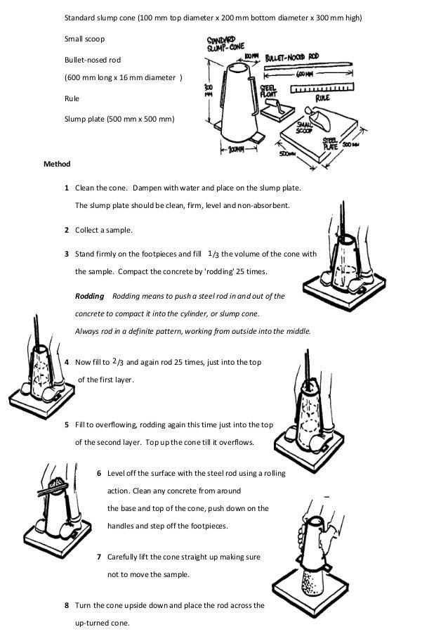 Standard slump cone (100 mm top diameter x 200 mm bottom diameter x 300 mm high) Small scoop Bullet-nosed rod (600 mm long...