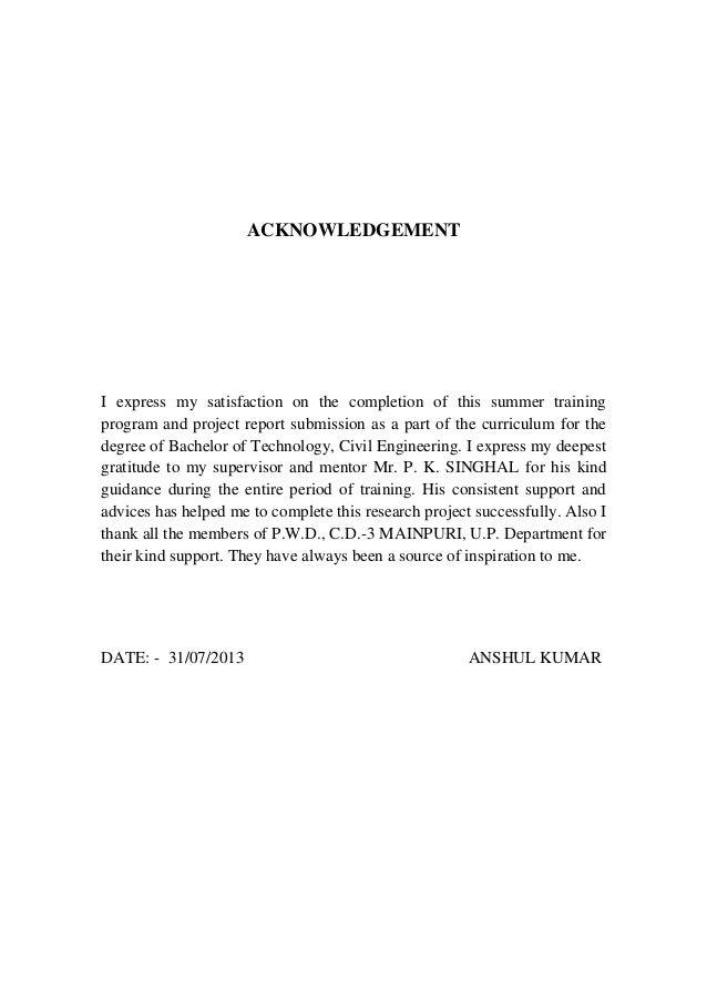 Anshul pwd training report – Acknowledgement Report Sample
