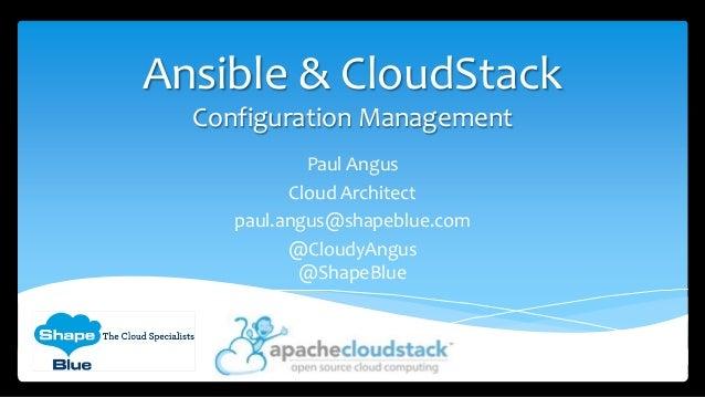 Ansible & CloudStack - Configuration Management