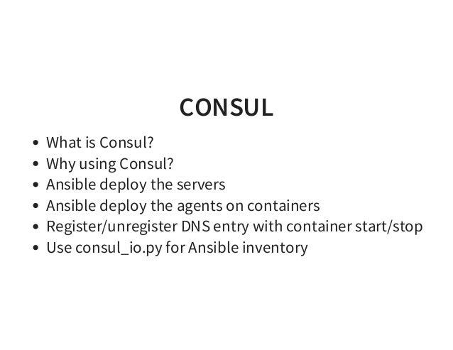 Ansible meetup 0915 for Consul dns docker