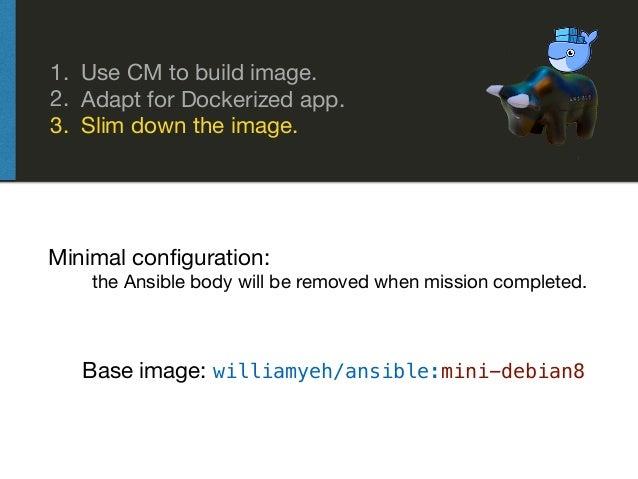 1. Use CM to build image.  2. Adapt for Dockerized app.  3. Slim down the image. Base image: williamyeh/ansible:mini-debia...