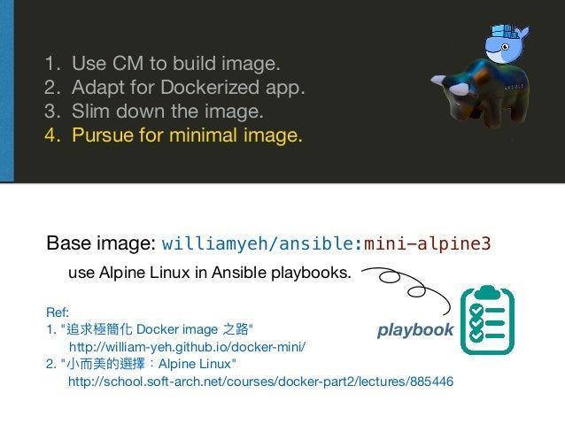 1. Use CM to build image.  2. Adapt for Dockerized app.  3. Slim down the image.  4. Pursue for minimal image. Base image:...