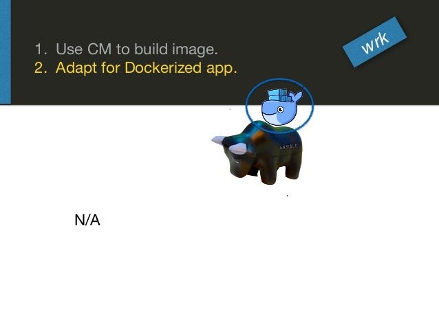 wrk 1. Use CM to build image.  2. Adapt for Dockerized app. N/A
