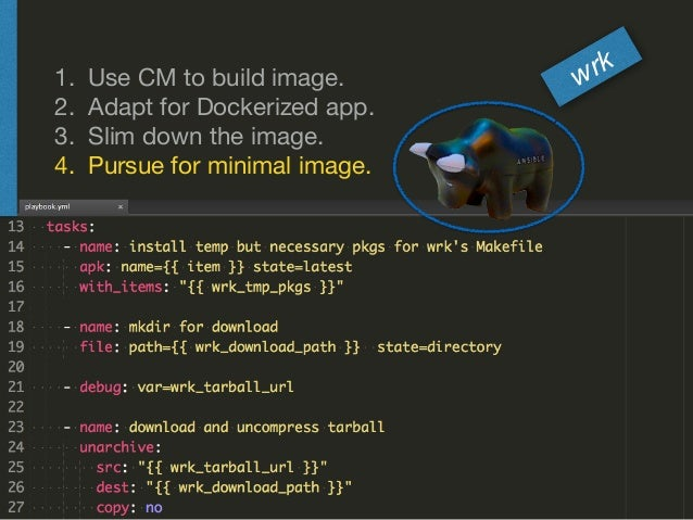 1. Use CM to build image.  2. Adapt for Dockerized app.  3. Slim down the image.  4. Pursue for minimal image. wrk