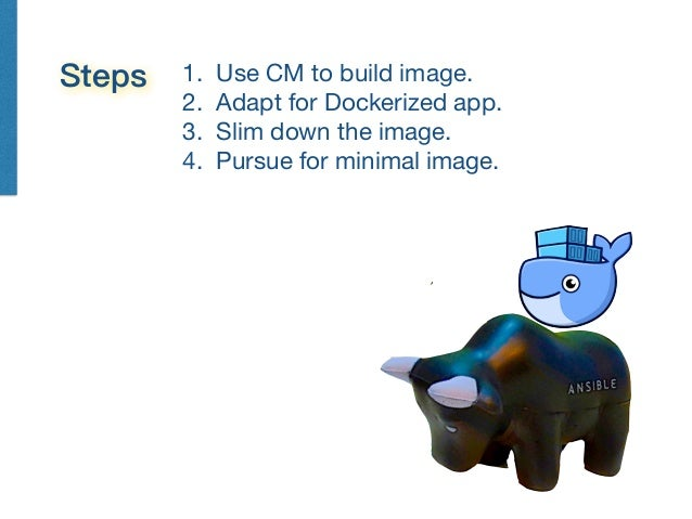 1. Use CM to build image.  2. Adapt for Dockerized app.  3. Slim down the image.  4. Pursue for minimal image.
