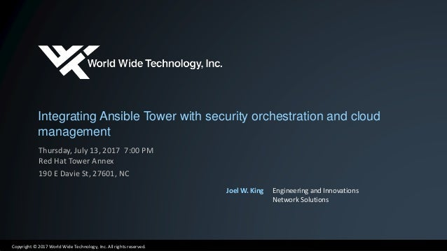 Integrating Ansible Tower with security orchestration and