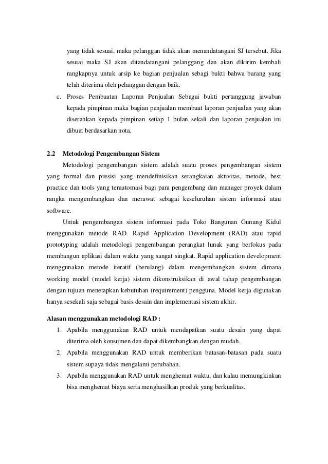 Analisis Perancangan Si Penjualan Toko Bangunan Gunung Kidul