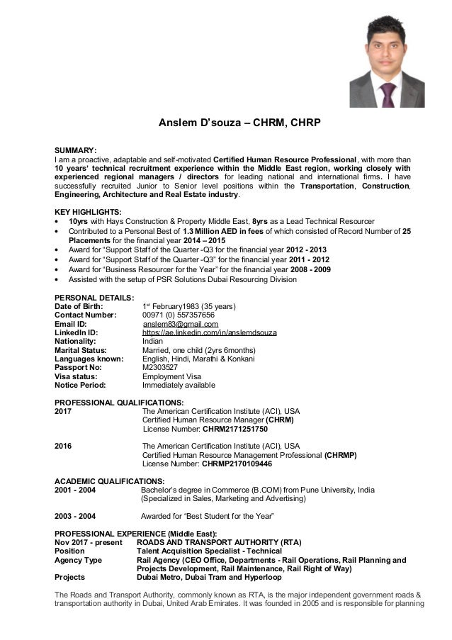 Anslem D'souza – CHRM, CHRP SUMMARY: I am a proactive, adaptable and self-motivated Certified Human Resource Professional,...