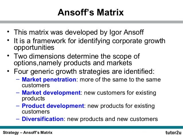 ansoffs matrix notes Studycom – test,  video and notes: revision website with sample materials supports: lo2.