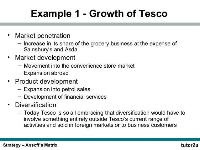 ansoff matrix for asda