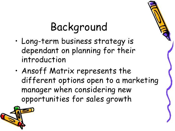 Ansoff matrix Slide 2