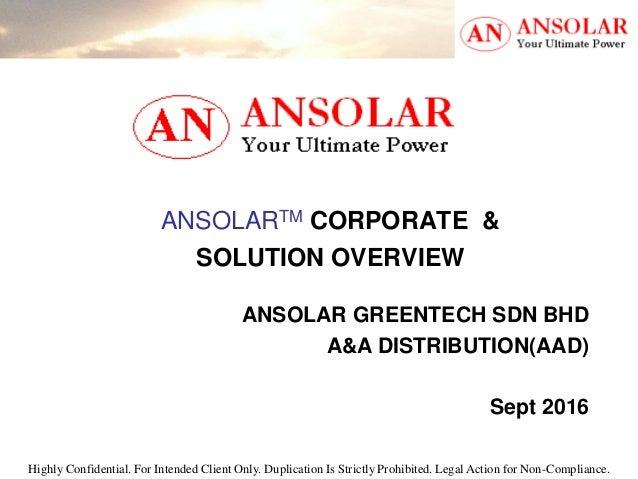 ANSOLAR Greentech Sdn Bhd Corporate Profile & Solution