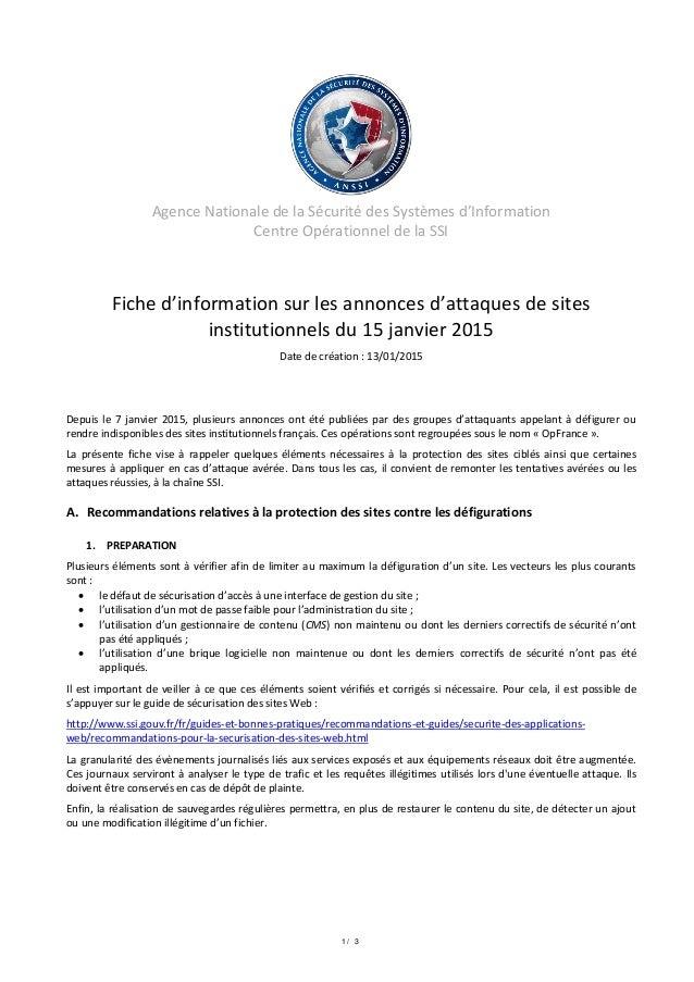 1 / 3 Agence Nationale de la Sécurité des Systèmes d'Information Centre Opérationnel de la SSI Fiche d'information sur les...