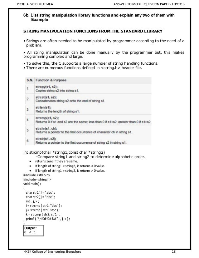 VTU PCD Model Question Paper - Programming in C