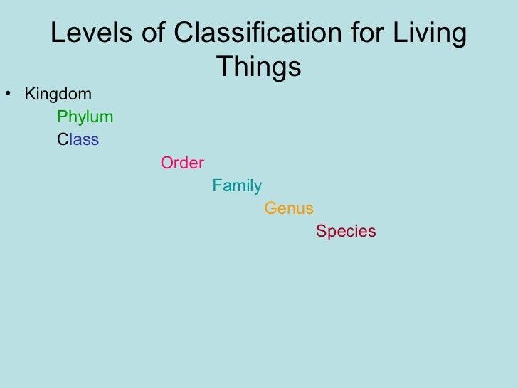 Levels of Classification for Living Things <ul><li>Kingdom  </li></ul><ul><li>Phylum </li></ul><ul><li>C lass </li></ul><u...