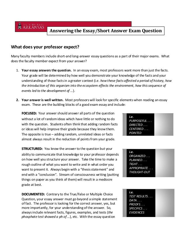 techniques in answering essay questions Preparing effective essay questions although essay questions are one of the this workbook is divided into sections answering the following three questions.