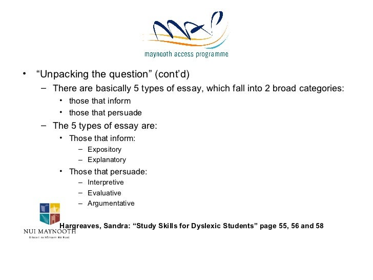 Help answering essay questions