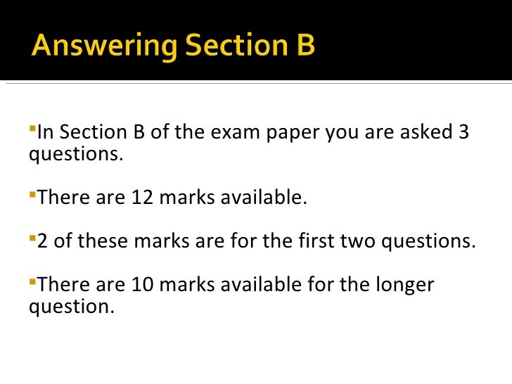 Answering section b ppt insection b of the exam paper you are asked 3questions malvernweather Choice Image