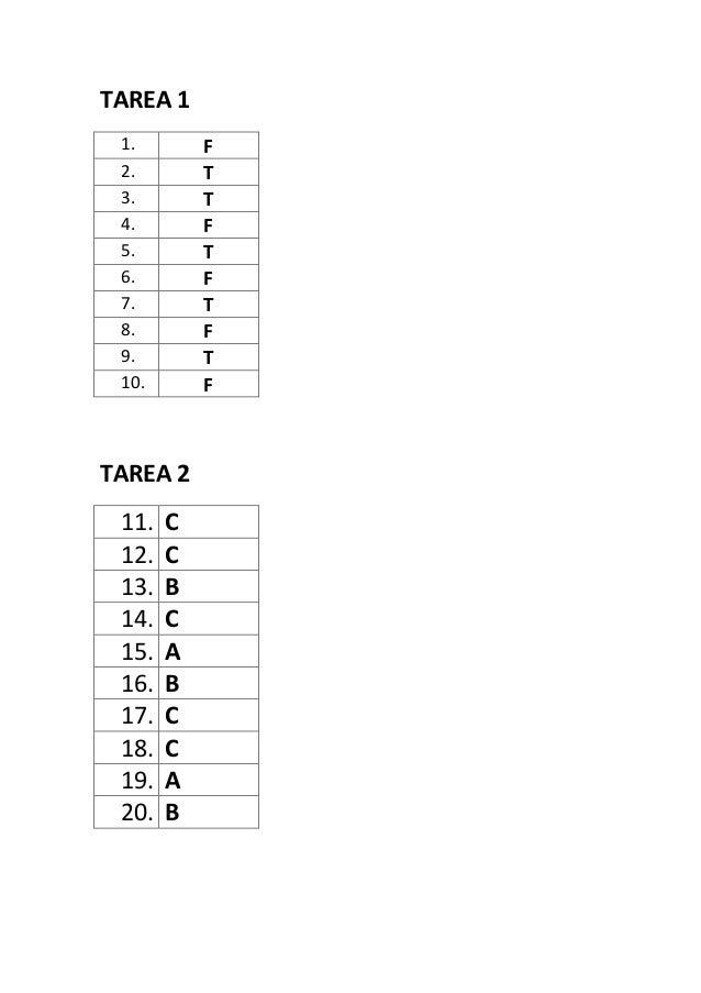 TAREA 1 1. F 2. T 3. T 4. F 5. T 6. F 7. T 8. F 9. T 10. F TAREA 2 11. C 12. C 13. B 14. C 15. A 16. B 17. C 18. C 19. A 2...