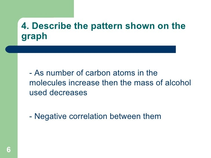 4. Describe the pattern shown on the graph <ul><li>- As number of carbon atoms in the molecules increase then the mass of ...