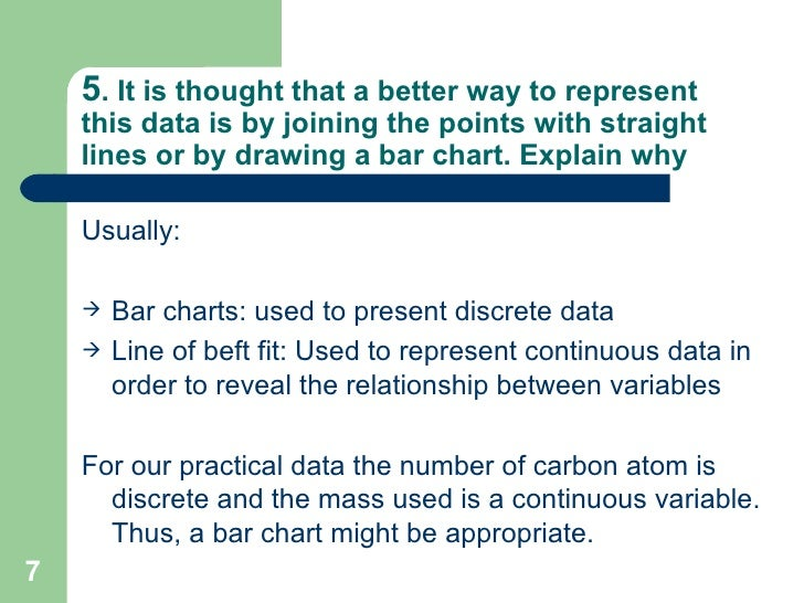 5 . It is thought that a better way to represent this data is by joining the points with straight lines or by drawing a ba...