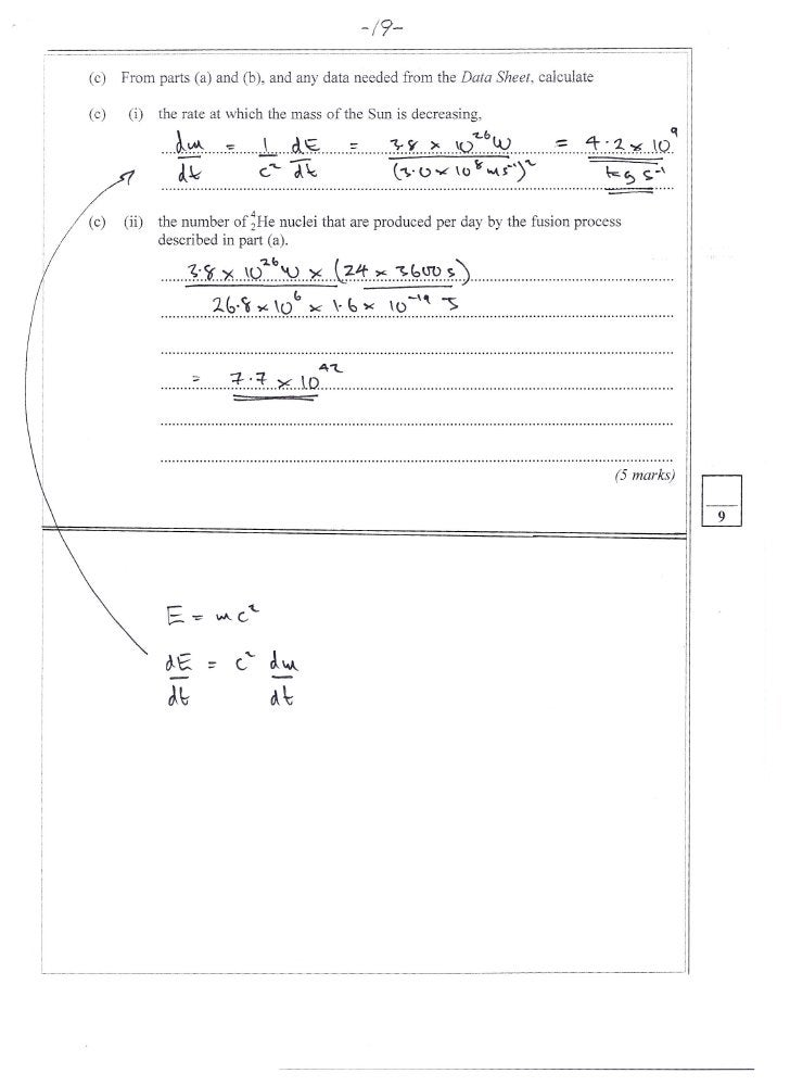 -/9-  (c)   From parts (a) and (b), and any data needed from the Data Sheet, calculate  (c)    (i)   the rate at which the...