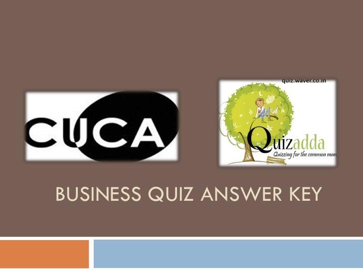 BUSINESS QUIZ ANSWER KEY