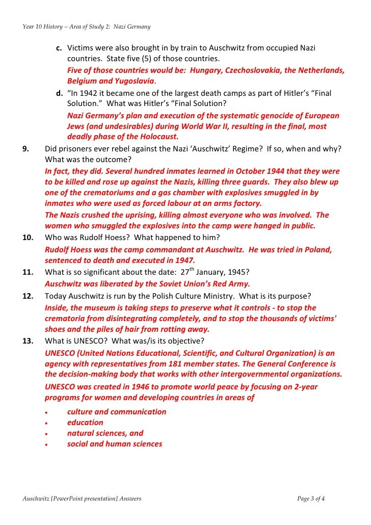 Answers PowerPoint: Auschwitz worksheet