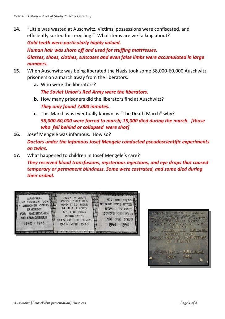 Answers PowerPoint Auschwitz worksheet – Becoming Human Worksheet Answers