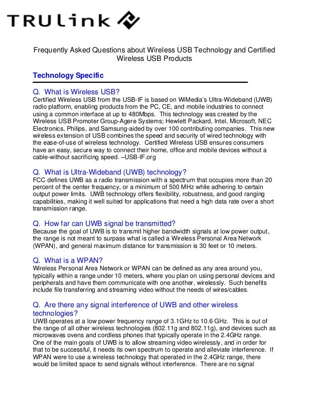 Frequently Asked Questions about Wireless USB Technology and Certified                        Wireless USB ProductsTechnol...