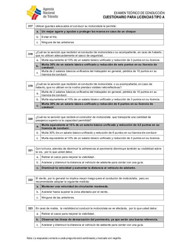 Ant Preguntas Para Licencia Tipo A