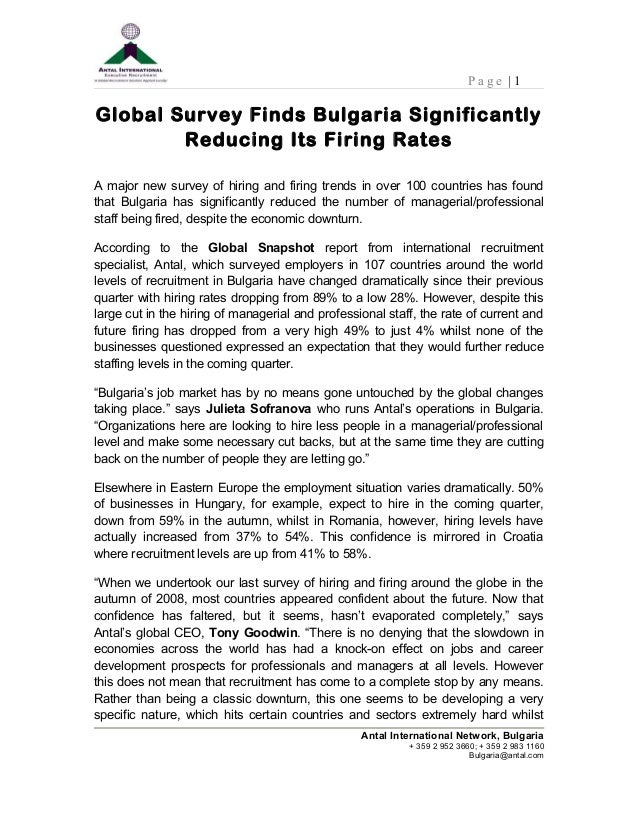 P a g e | 1 Global Survey Finds Bulgaria Significantly Reducing Its Firing Rates A major new survey of hiring and firing t...