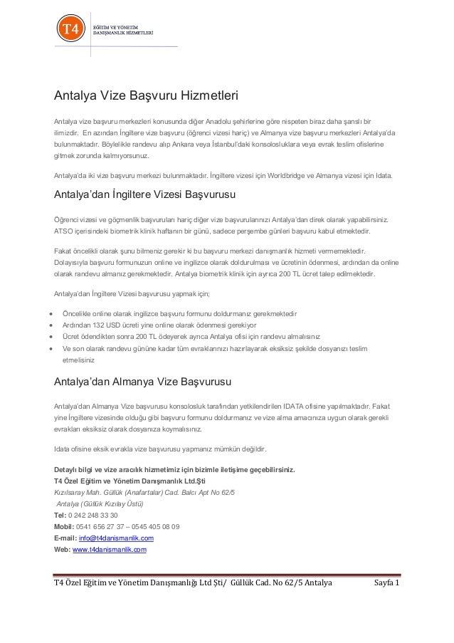 Antalya Vize Başvuru Hizmetleri Antalya vize başvuru merkezleri konusunda diğer Anadolu şehirlerine göre nispeten biraz da...