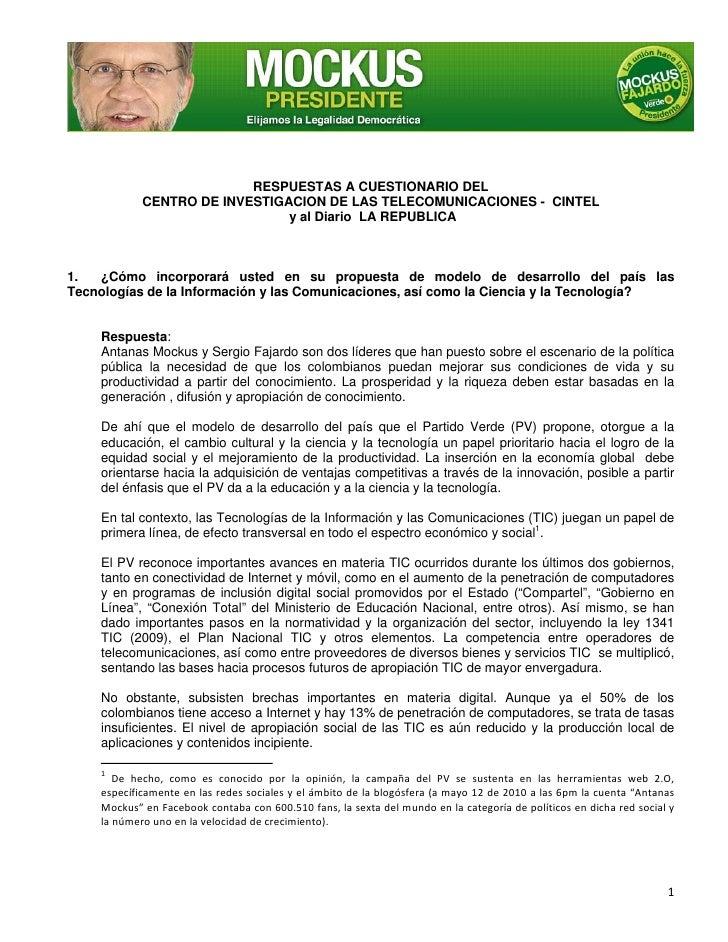 RESPUESTAS A CUESTIONARIO DEL             CENTRO DE INVESTIGACION DE LAS TELECOM...