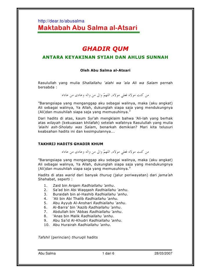 http://dear.to/abusalmaMaktabah Abu Salma al-Atsari                         GHADIR QUM  ANTARA KEYAKINAN SYIAH DAN AHLUS S...