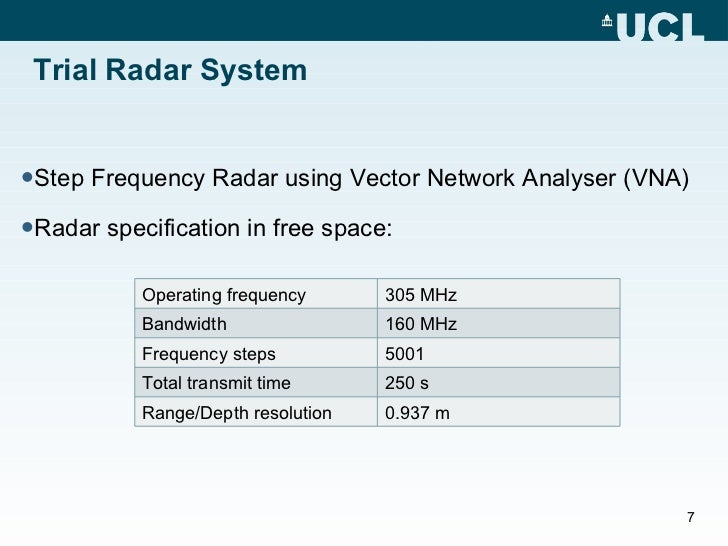 Step Frequency Radar Network Analyzer : Antarctic ice shelf d cross sectional profile imaging