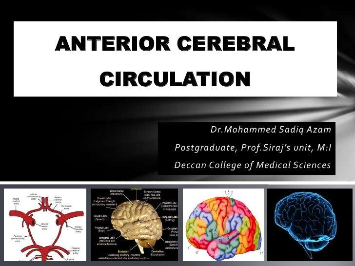ANTERIOR CEREBRAL   CIRCULATION                Dr.Mohammed Sadiq Azam        Postgraduate, Prof.Siraj's unit, M:I        D...
