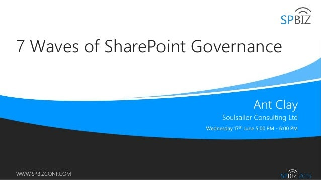 Online Conference June 17th and 18th 2015 WWW.SPBIZCONF.COM 7 Waves of SharePoint Governance