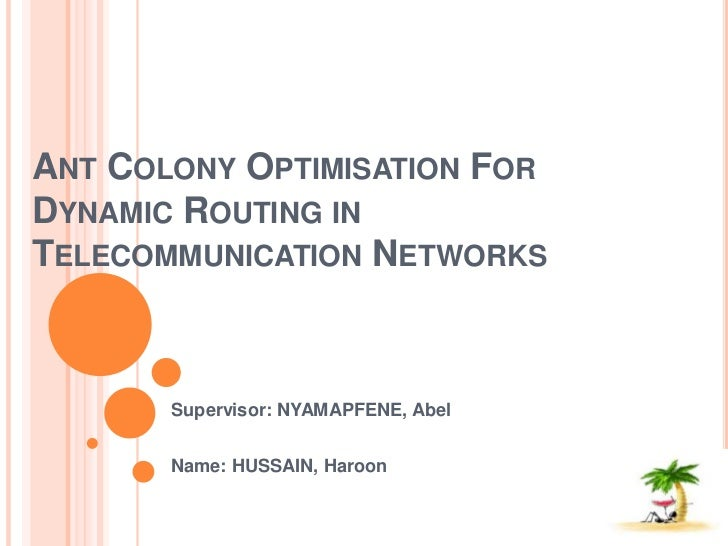 Ant Colony Optimisation For Dynamic Routing in Telecommunication Networks<br />Supervisor: NYAMAPFENE, Abel <br />Name: HU...