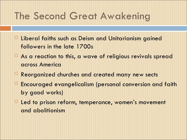 thesis statement on the great awakening It is here that another important term comes into play--the second great awakening--the term evangelical leaders adopted to talk of the revivalism and evangelical fervor they found themselves in the midst of.