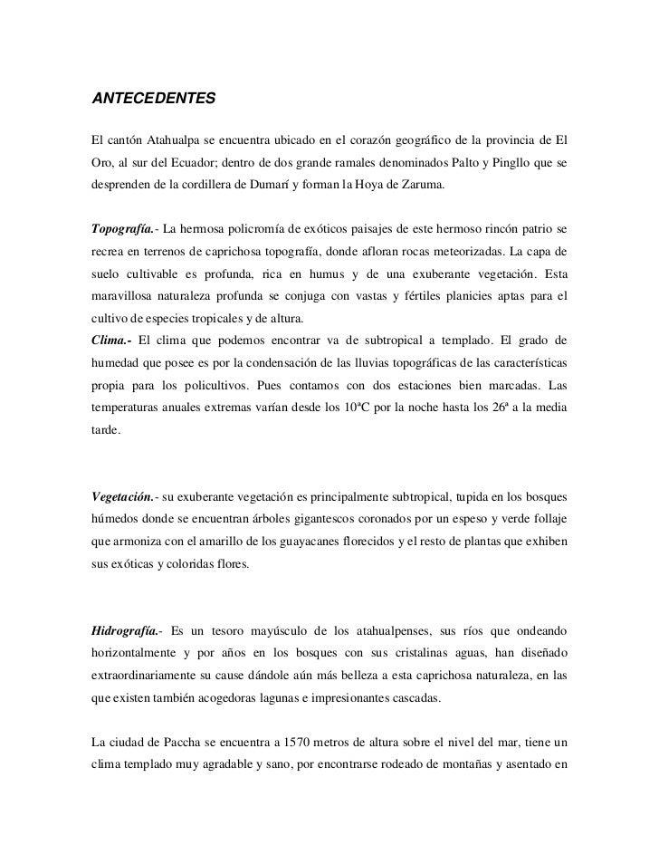 ANTECEDENTES<br />El cantón Atahualpa se encuentra ubicado en el corazón geográfico de la provincia de El Oro, al sur del ...