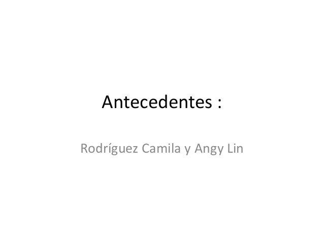 Antecedentes :  Rodríguez Camila y Angy Lin