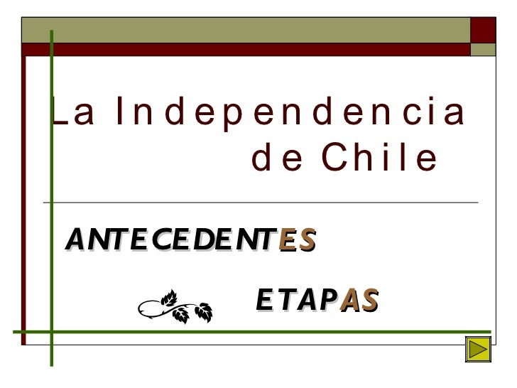 La Independencia    de Chile ANTECEDENT ES ETAP AS