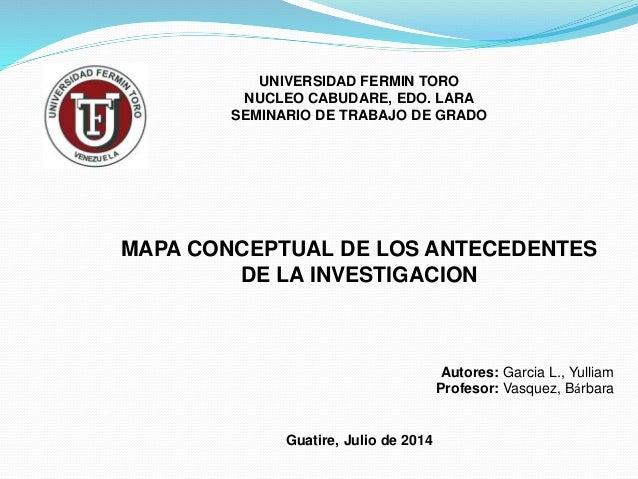 UNIVERSIDAD FERMIN TORO NUCLEO CABUDARE, EDO. LARA SEMINARIO DE TRABAJO DE GRADO MAPA CONCEPTUAL DE LOS ANTECEDENTES DE LA...