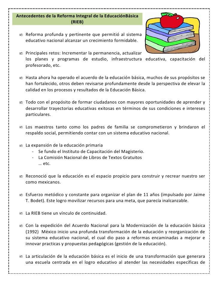 Antecedentes de la Reforma Integral de la EducaciónBásica                         (RIEB)    Reforma profunda y pertinente ...